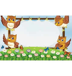 Frame template with owls flying in garden vector image vector image