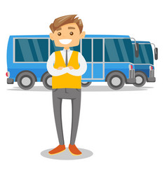 Full length of young caucasian white bus driver vector