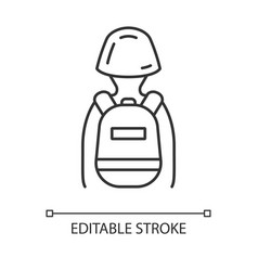 Game soldier with tactical backpack linear icon vector