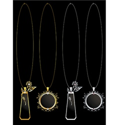 Gold and silver floral necklaces vector image