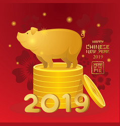 gold pig standing on coins chinese new year 2019 vector image