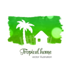 Green watercolor splash with home and palm vector