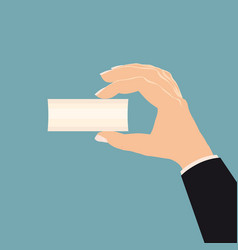 hand a businessman holding a sheet white vector image