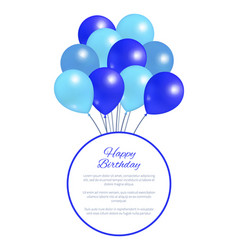 Happy birthday postcard balloons big bundle party vector