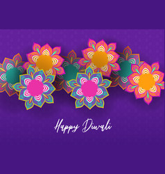happy diwali festival card indian papercut flower vector image