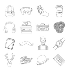 Hipster style set icons in outline style Big vector