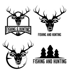 Hunting and fishing vintage set vector