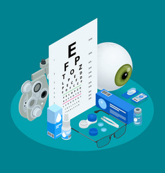 Isometric set ophthalmology and eye care icons vector