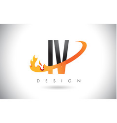 iv i v letter logo with fire flames design and vector image