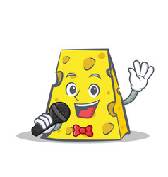 Karaoke cheese character cartoon style vector