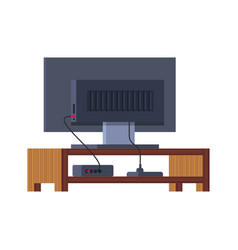 Large plasma tv stands on a wooden stand vector