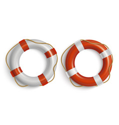 Lifebuoies icons set life preserver or saver red vector
