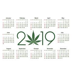 Marijuana calendar for 2019 vector