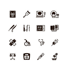 Medical devices and equipment icons vector