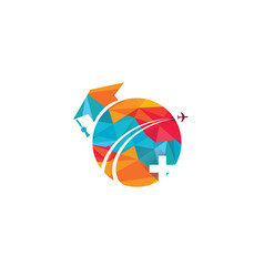 Medical study abroad logo design vector