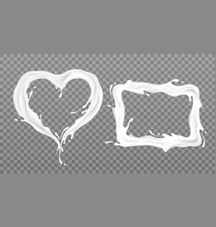milk splash frames rectangle and heart shape set vector image