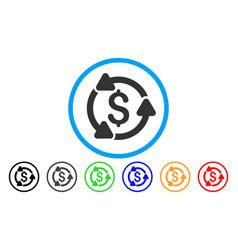 money turnover rounded icon vector image
