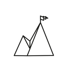 mountain summit adventure thin line icon symbol vector image