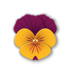Paper art pansy vector