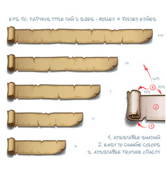 Papyrus tittle tag five sizes - rolled and folded vector
