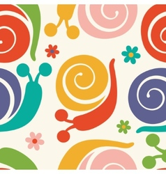 Pattern with colorful snails and flowers vector image