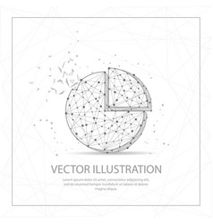 pie chart digitally drawn low poly wire frame on vector image