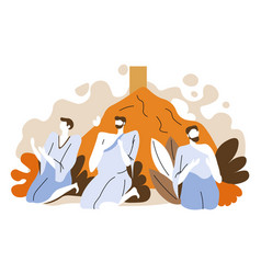 Pilgrims pray at mount arafat hajj isolated icon vector