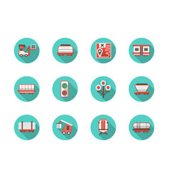 Railway platforms round flat blue icons set vector