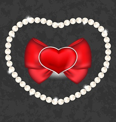 Red heart with bow and pearls for Valentine Day vector image
