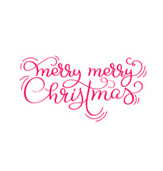 red merry merry christmas vintage calligraphy vector image