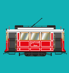 red-white electric retro tram vector image