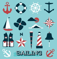 Sailing icons and symbols vector