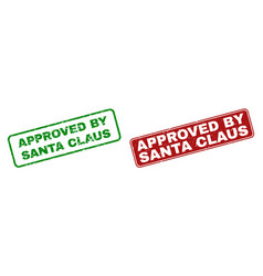 scratched approved by santa claus watermarks with vector image