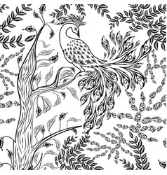 Seamless fairy fantasy garden forest bird vector