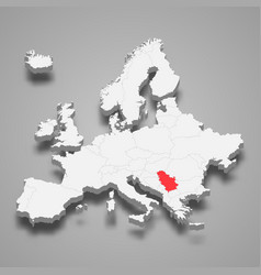 serbia country location within europe 3d map vector image