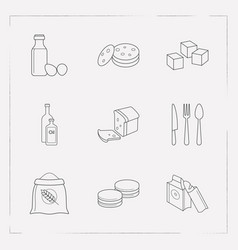Set of food icons line style symbols with loaf vector