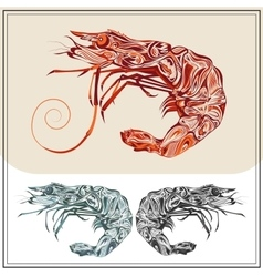 Set ornamental shrimps red black color vector image
