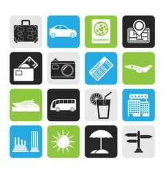 Silhouette Travel and vacation icons vector image