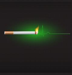 smoking and heart beat graph vector image