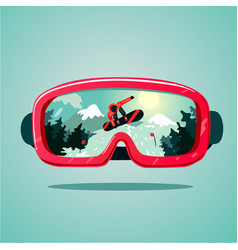 Snowboard protective mask with snowboarder on vector