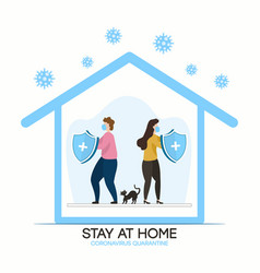 Stay home family at quarantine or self-isolation vector