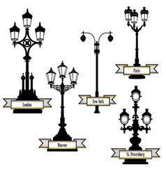 Street lamp set streetlight city sign london vector