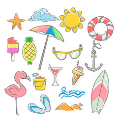 Summer elements design set with hand drawn vector
