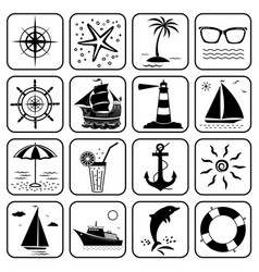 summer sea vacation travel icons set vector image