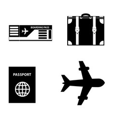 summer travel icon set isolated on white vector image