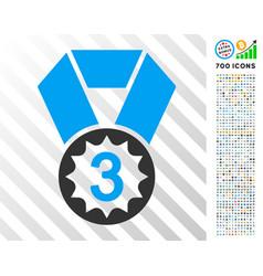 Third place flat icon with bonus vector