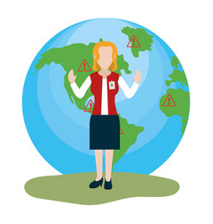 tourist guide cartoon vector image