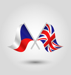 Two crossed czech and british flags vector