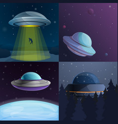 Ufo banner set cartoon style vector