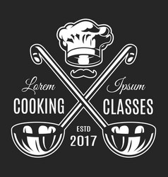 Vintage cooking classes monochrome logotype vector